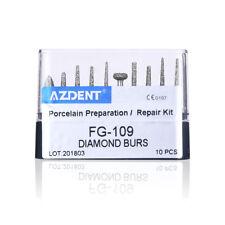 10Pcs Dental High Speed Diamond Burs FG-109 Porcelain Preparation Repair