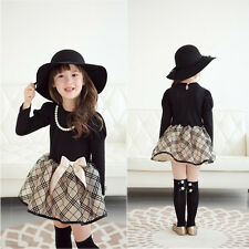 Kids Baby Girls Dress Bow Tulle Tutu Plaid Party Gown Formal Dresses 6-7Y