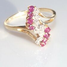 10K VS RUBY & G COLOR DIAMOND CLUSTER GEM QUALITY  GORGEOUS BAND RING S 7