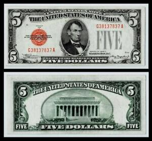 1928-C $5 Red Seal United States Note~XF