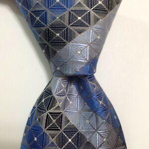 VAN HEUSEN Men's 100% Silk Necktie Designer Geometric Blue/Gray/White NWT $40