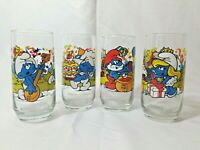 Smurf Drinking Glasses Set of 4 Vintage 1983  Wallace Berrie Hardees