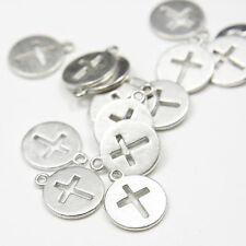 20pcs Oxidized Silver Tone Base Metal Charms-Cross 14mm (9292Y-B-285)