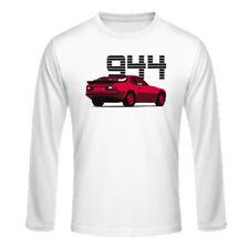 """Longsleeve Shirt """"Porsche 944"""", rot auf weiß / dreifarbiger Print, vorne"""