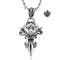 Silver pendant vintage style stainless steel cz Fleur-De-Lis ball chain necklace