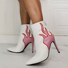 Womens Sexy Flame Printed Ankle Riding Boots Pointed Toe High Heels Stilettos