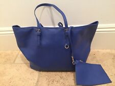 Womans Blue large vegan leather shopper tote handbag with matching small bag