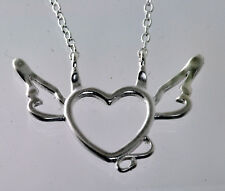 Naughty and Nice Heart Angel wings devil tail Sterling silver charm necklace new