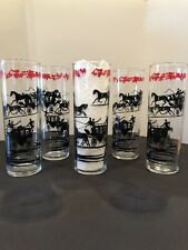 SET OF 5 BLACK & RED STAGECOACH LIBBEY TALL COCKTAIN GLASSES - 7""