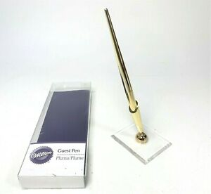 Wilton Guest Book Signing Pen Wedding Venue Gold Tone Pen with Stand Holder Set