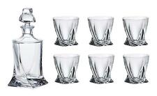 Crystalex Bohemia Quadro Whiskey Set, 28-Ounce Decanter with 6 Tumblers