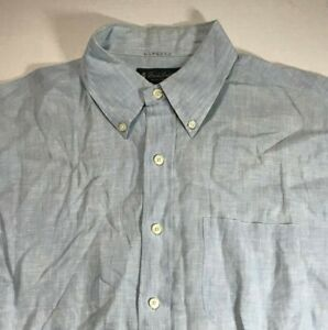 Brooks Brothers Men's Irish Linen 1818 Regent Button Shirt Blue • L