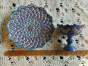 Persian Mina Kari Painted Handmade Fine Art Brass/Copper Enamel Plate & Nut Dish