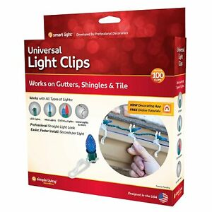 Simple Living 100 Universal Light Clips for Gutters Shingles Tile New