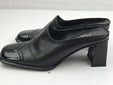 CORDANI  Black Square Toe Shoes Mule Heel Ladies Size 35  Leather  Italy A1906-7