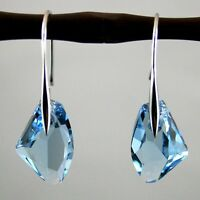 NEW Women's Aqua Blue Crystal Drop Silver Genuine Hook Dangle Earrings Jewelry F