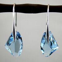 NEW Women's Aqua Blue Crystal Drop Silver Genuine Hook Dangle Earrings Jewelry F
