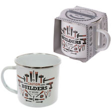 Enamel Mug Builders at Work Drinking Tea Large Decorative Coffee Cup Gifts