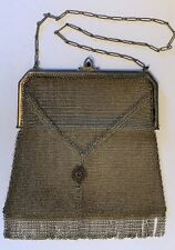 Vintage Whiting & Davis metal mesh purse w/ sapphire closure divided inside, fri