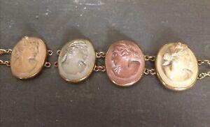 Victorian Carved Italian Lava Stone Cameo Bracelet Antique Jewellery
