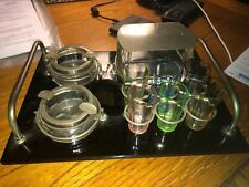 Vintage Pre Prohibition Era Cordials Bar Set, Flapper, Glass Tray Vegas Casino
