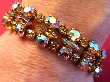 Sherman Stunning AB and Topaz Swarovski Crystal Bracelet, 1960-70s Signed