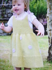 Knitting Pattern To Knit  Simple Little D.K. Baby Dress With Embroidered Flowers