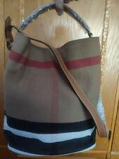 BURBERRY Medium Ashby Saddle Brown Cotton Leather Hobo Shoulder Bag 3945742