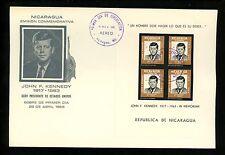Postal History FDC Nicaragua #C574-C577 SET OF 4 John F. Kennedy JFK 1965