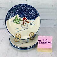 Thomson Pottery SNOWMAN Blue Sponge Stoneware Christmas Dinner Plates Set Four