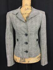 ECCOCI White Black Blazer 8 Med Wool Bl Houndstooth Plaid Pocket Jacket Work LN