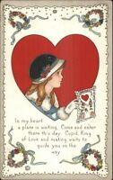 Valentine - Little Girl w/ Card Series 515B c1915 Postcard