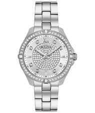 Bulova Women's 96L236 Quartz Crystal Accents Silver-Tone Bracelet 35mm Watch