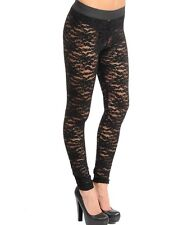 S TRIBAL EMO LOLITA GOTHIC BURLESQUE BELLY DANCING LACE STRETCH LEGGINGS PANTS