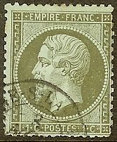 "FRANCE STAMP TIMBRE N° 19 "" NAPOLEON III 1c OLIVE DENTELE 1862 "" OBLITERE TB"