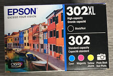 New Genuine Epson 302XL Black 302 Color Ink Cartridges Cyan Magenta Yellow 2023+