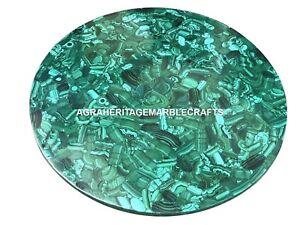 Marble Center Coffee Top Table Random Malachite Inlay Stone Housewarming Gift