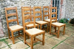 6 Beautiful French Solid Oak Ladder Back Rush Seat Farmhouse Chairs