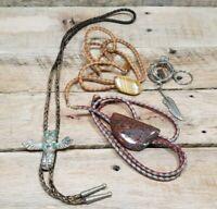 LOT Of 3 BOLO TIES Southwestern Native Western Cowboy BEAUTIFUL!!!