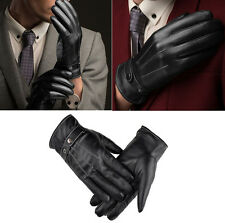 Warm Men Winter PU Leather Gloves Full Finger Screen Touch Outdoor Gloves Black