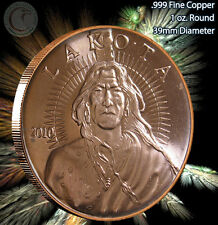 "Lakota ""Crazy Horse"" with Buffalo back AOCS Copper 1 oz .999 Copper Round"