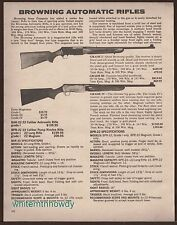 1980 BROWNING BAR-22 Grade I and III, BPR Grade IV Rifle AD w/ specs and prices