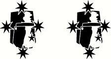 Ned Kelly Helmet Southern Cross, Car, Ute, Truck Sticker Decal Set, 60 x 80mm ea