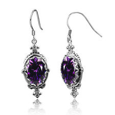 Punk Vintage Silver 925 Hook Earrings Amethyst  Handmade Birthstone Jewelry