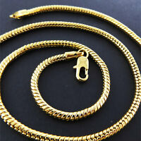 Necklace Pendant Chain Real 18K Yellow G/F Gold Solid Unisex Snake Link Design