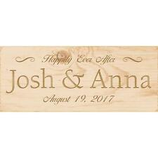 """Personalized Laser Engraved Sign, Wedding HAPPILY EVER AFTER, Natural 6"""" x 2.5"""""""