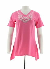 Denim & Co Embroider Short Sleeve Shirt  -Trapeze Hem -Knit Top Azalea Pink XXS