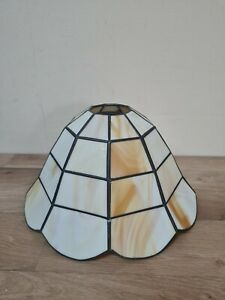 """Vintage Tiffany Style Art Deco Leaded Stained Glass Lamp Light Shade Cream 10x6"""""""