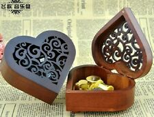 HEART WOOD CARVING MUSIC BOX  :  phantom of the opera  (MUSIC OF THE NIGHT)