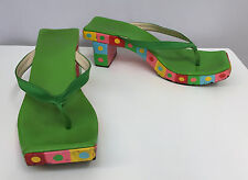 FENDI HAND PAINTED SANDALS SHOES GREEN SILK MULTI COLOR SQUARES & DOTS DESIGN 6